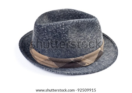 Men's classic hat isolated on white background - stock photo