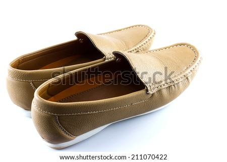 Men's classic leather brow shoes in white background