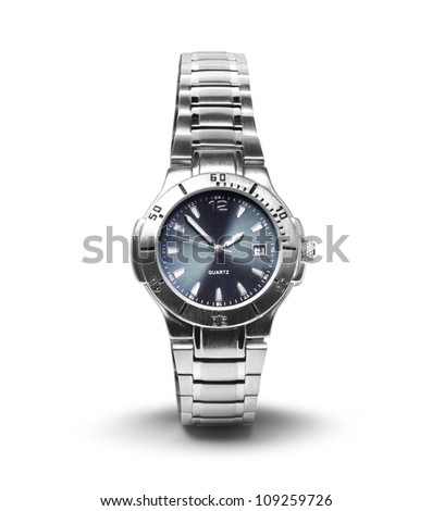 Men's classic steel wrist watch timer isolated on white background - stock photo