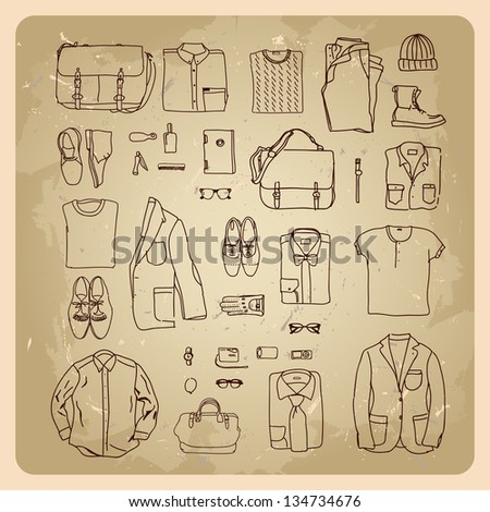 men's clothes sketches men fashion clothes and accessories. rasterized/bitmap version - stock photo