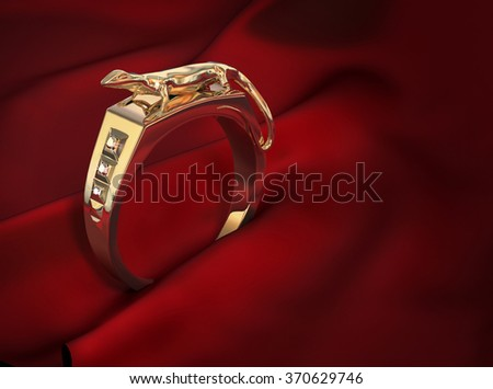 Men's gold ring with a lizard on a red silk background. Digital illustration.