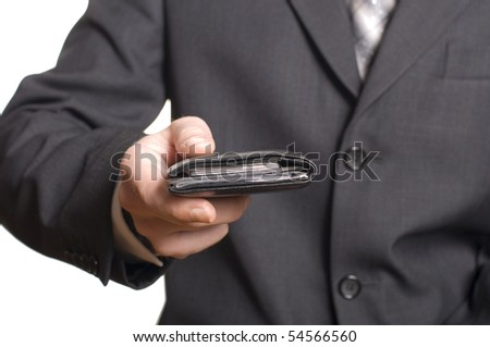 men's hand give a wallet