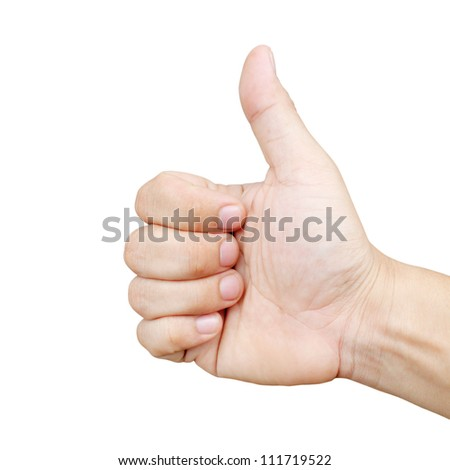 Men's hand make thumbs up for good job