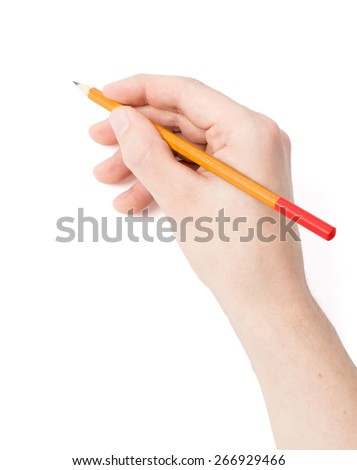 Men's hand with a pencil on a white background - stock photo