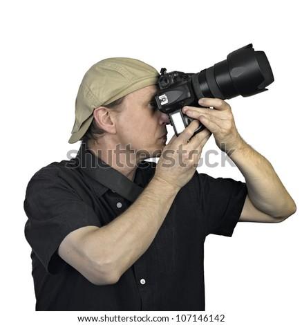 Men's hands held camera on white background - stock photo