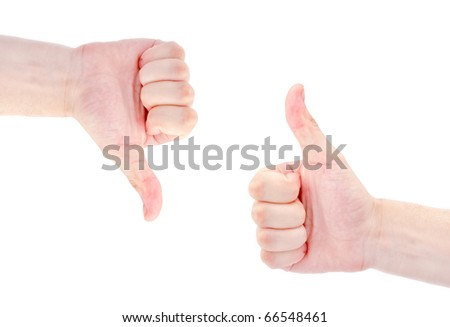 men's hands make thumbs up isolated over white