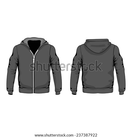 Men s hoodie shirts template front and back views - stock photo