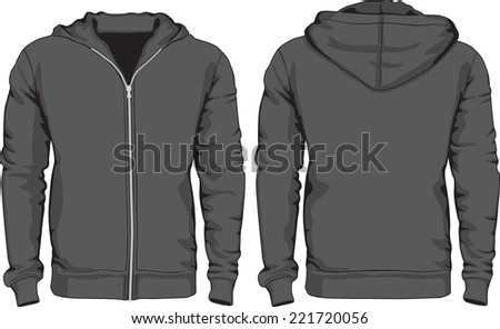 Men's hoodie shirts template. Front and back views. Raster version - stock photo