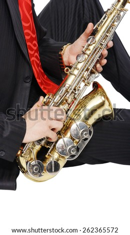 Men's long sitting with sax on tne white background  - stock photo