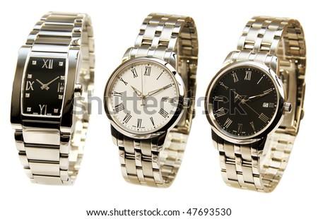 Men's luxury silver  wrist watch on white background - stock photo