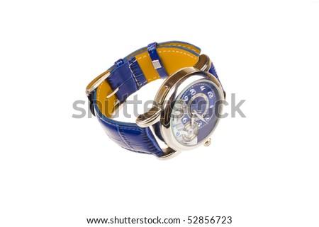 Men's luxury wrist watch on white background - stock photo