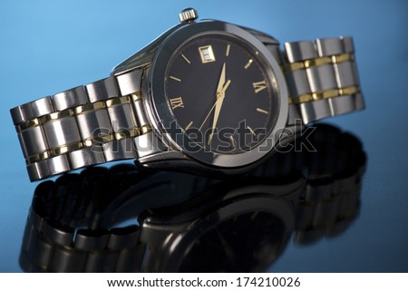 Men's mechanical watch isolated - stock photo