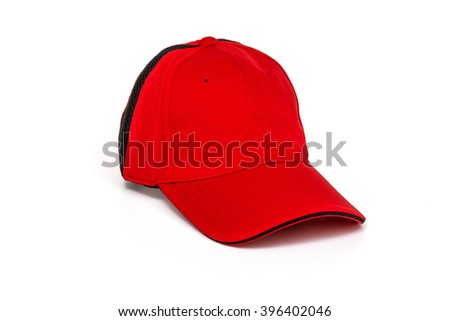 Men's red golf cap on white background