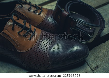 men's shoes and leather belt brown