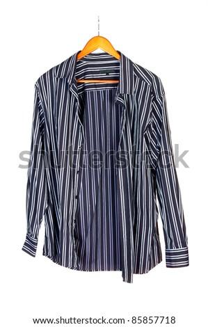 Men's short sleeved plaid cotton shirt on a hanger - stock photo