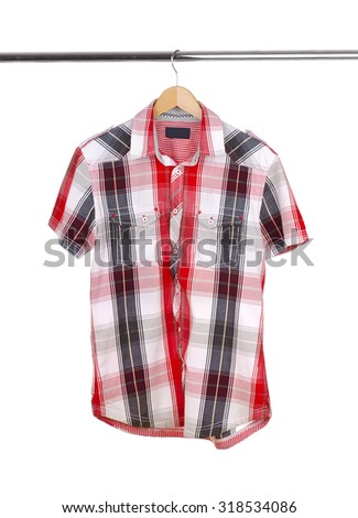 Men's  short-sleeved shirt on a white background.