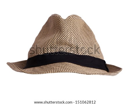 Men's stylish hat on a white background - stock photo