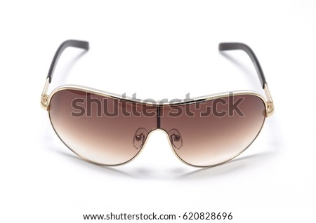Men's sunglasses in metal frame isolated on white