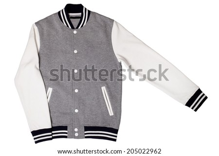 Men's varsity jacket isolated on white background - stock photo