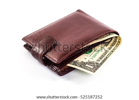 men's wallet money in cash white background