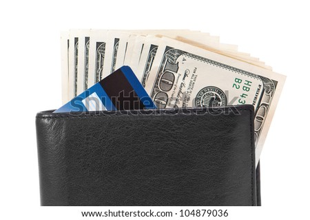 men's wallet with dollars and credit cards - stock photo