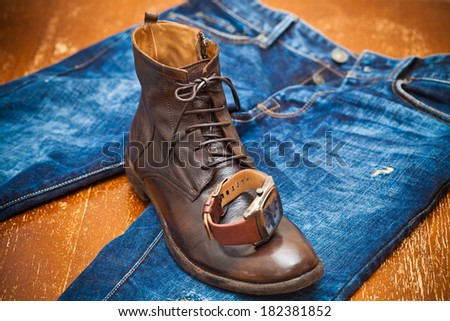 Men's watches, leather shoes, jeans. vintage style