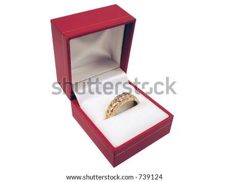 Men's wedding band in box. - stock photo