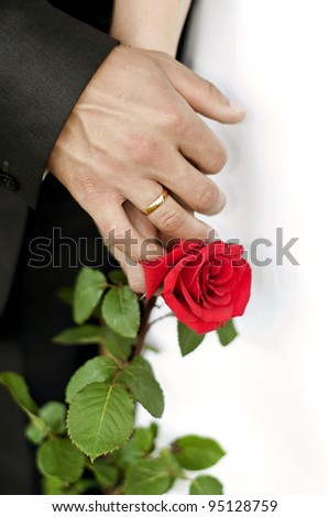 Men's wedding ring on his hands and rose