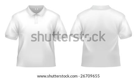 Men's white polo shirt design template (clipping path). - stock photo