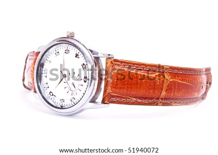 men's wrist silver watch isolated on white - stock photo