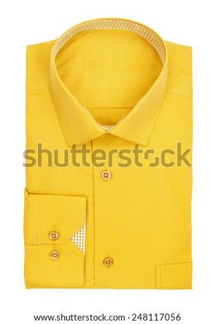 men's yellow shirt on a white background - stock photo