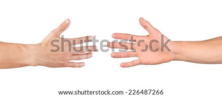 Men shaking hands isolated on white - stock photo