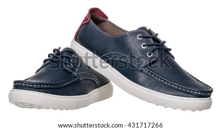 men shoes on white background - stock photo