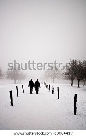 Men walking in a winter landscape - stock photo