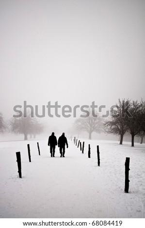 Men walking in a winter landscape - stock photo