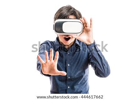 Men wearing goggles, virtual reality - stock photo