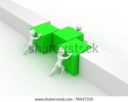 Men with boxes. Conceptual image of teamwork. 3d