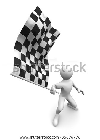 Men with checkered flag. 3d - stock photo