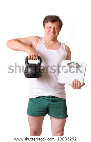 men with dumbbells and weight isolated on white - stock photo