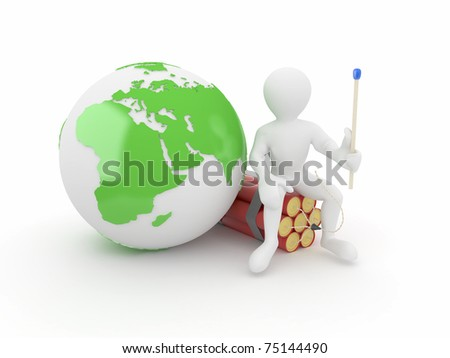 Men with earth and dynamite on white isolated background. 3d - stock photo