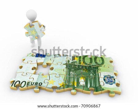 Men with euro from parts of puzzle. 3d - stock photo