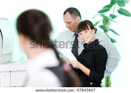 Men with girl and flowers - stock photo