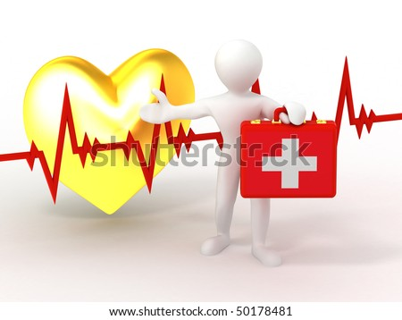 Men with medical case and heartbeat. 3d - stock photo