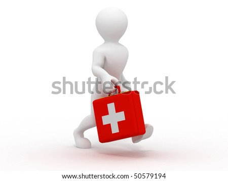 Men with medical case. 3d - stock photo