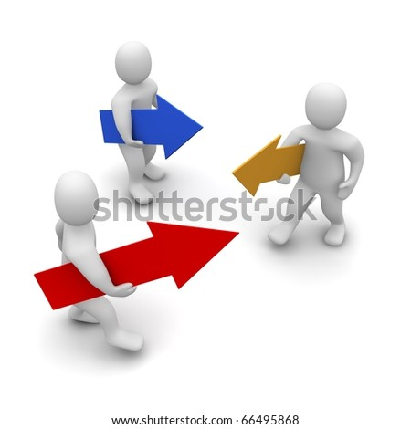 Men with moving in different direction. 3d rendered illustration. - stock photo