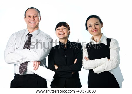 Men with paper and women with paper and girl - stock photo