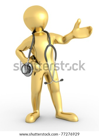 Men with stethoscope on white isolated background. 3d
