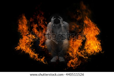 Men with stress and grieving like I was on fire./made picture to the concept - stock photo
