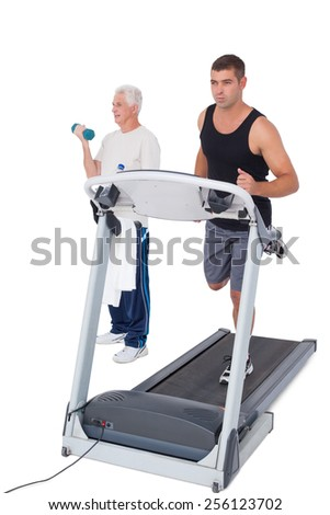 Men working out on white background - stock photo