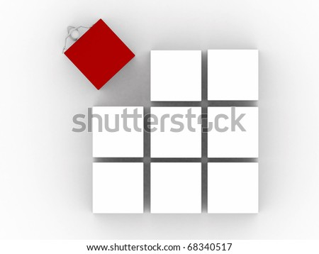 men working with cubes isolated on white background - stock photo